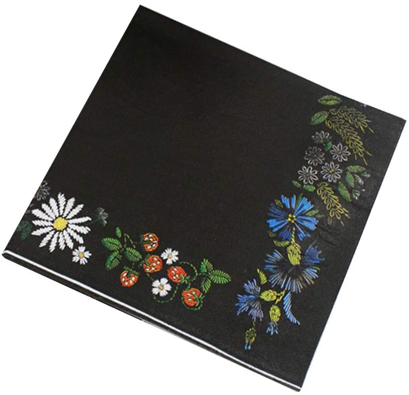 Meioro Napkins Cocktail Napkins Black Disposable Floral Paper Napkin, Party Supplies, Flower Decoupage, Perfect for Dinner Lunch Event, Folded 6.5 x 6.5 Inches (Black and Flowers Plants, 20 Count)