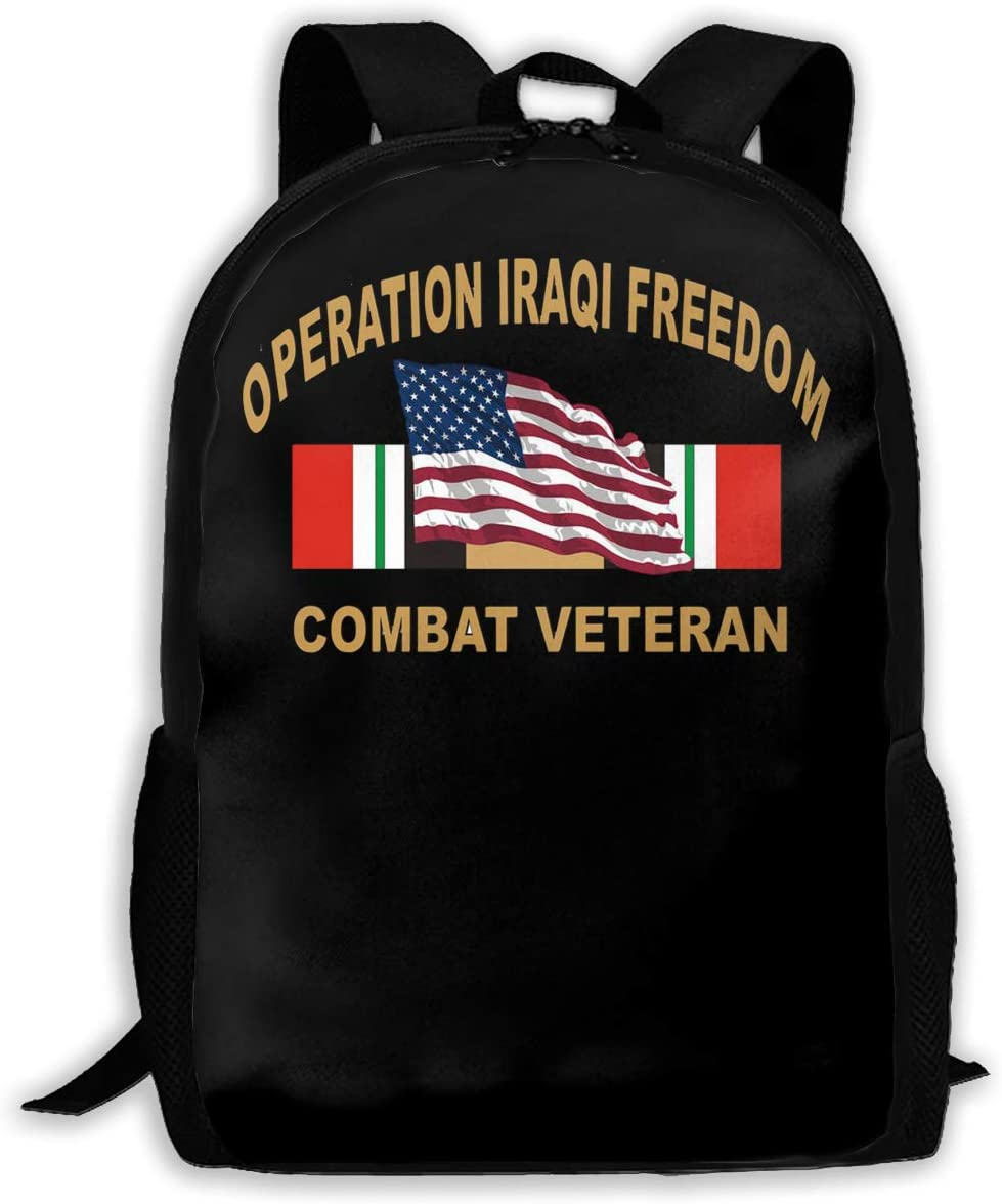Iraq Veteran With American Flag Operation Iraqi Freedom Man Woman Fashion Backpack Man's Girl's Fashion Canvas 3D Print Handsome Tourism Backpack