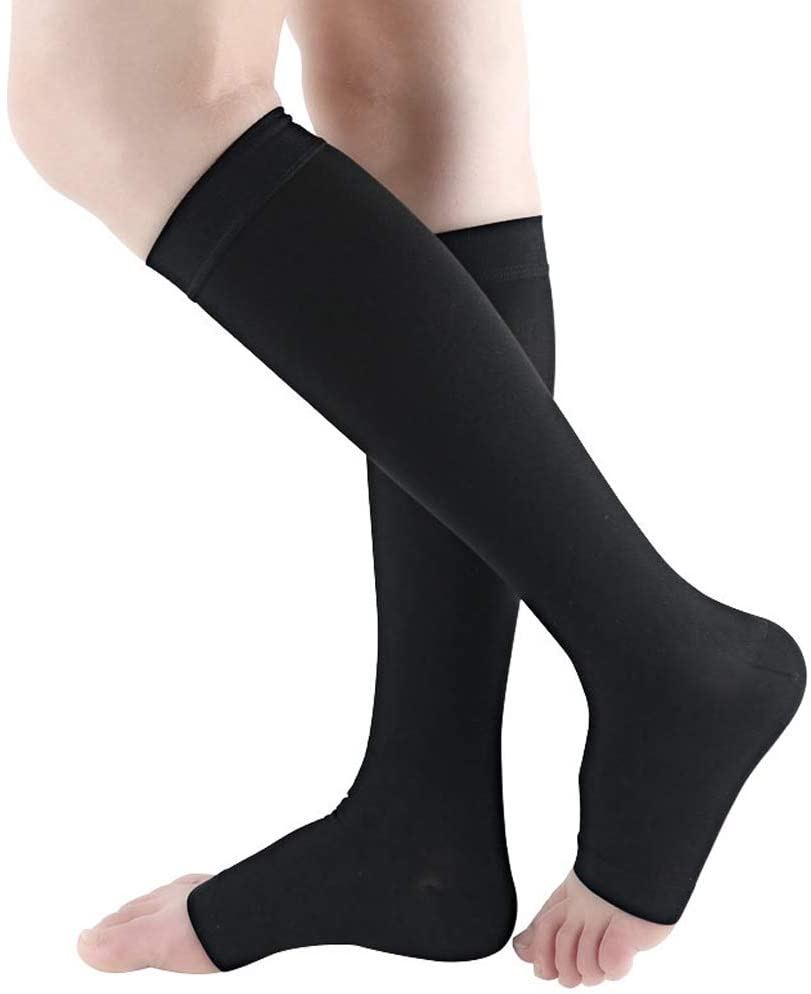 Bacophy 2 Pairs Compression Socks 15-20 mmHg for Women, Open Toe Calf Stockings