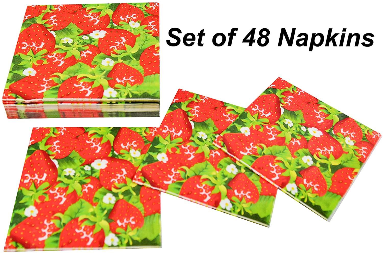 HOME-X Strawberry Garden Paper Napkins, Square Disposable Party Napkins, 48 Count – 6.5 x 6.5