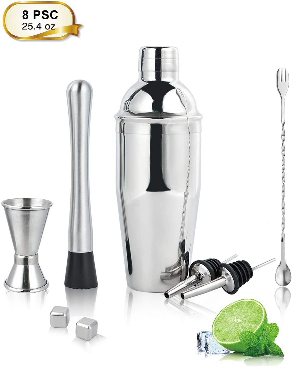 Cocktail shaker, 25.4oz Stainless Steel Martini Shaker Set, 8 Piece Bartender Kit with Measuring Jigger/Mixing Spoon/Cocktail Muddler / 2 Liquor Pourers/Cocktail Recipe/2 Metal Ice Cubes