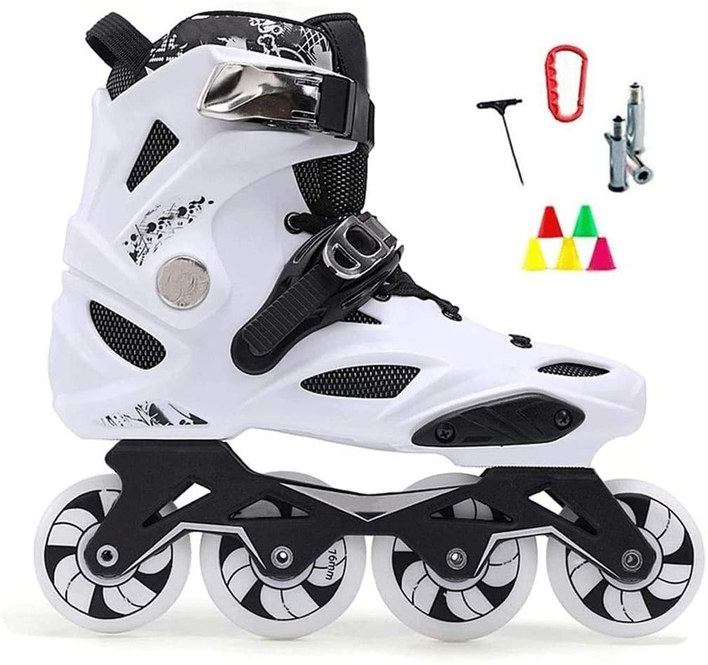 QL Professional Slalom Recommend Adult Inline Skate Shoes for Young Man Girl Daily Street Brush Skating Roller Skates,2 Colors (Color : White, Size : 35 EU/4 US/3 UK/22.5cm JP)