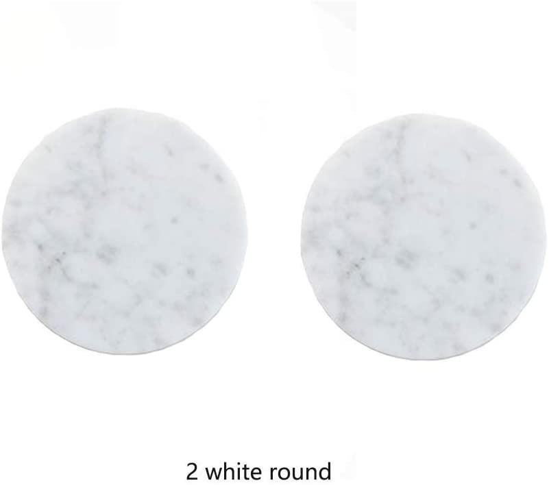 Brandless White Black Marble Coasters,Handcrafted Insulation Pad Coasters - Set of 2 Marble Coasters, Absorbent Stone Coasters Set (White, 2 Round)