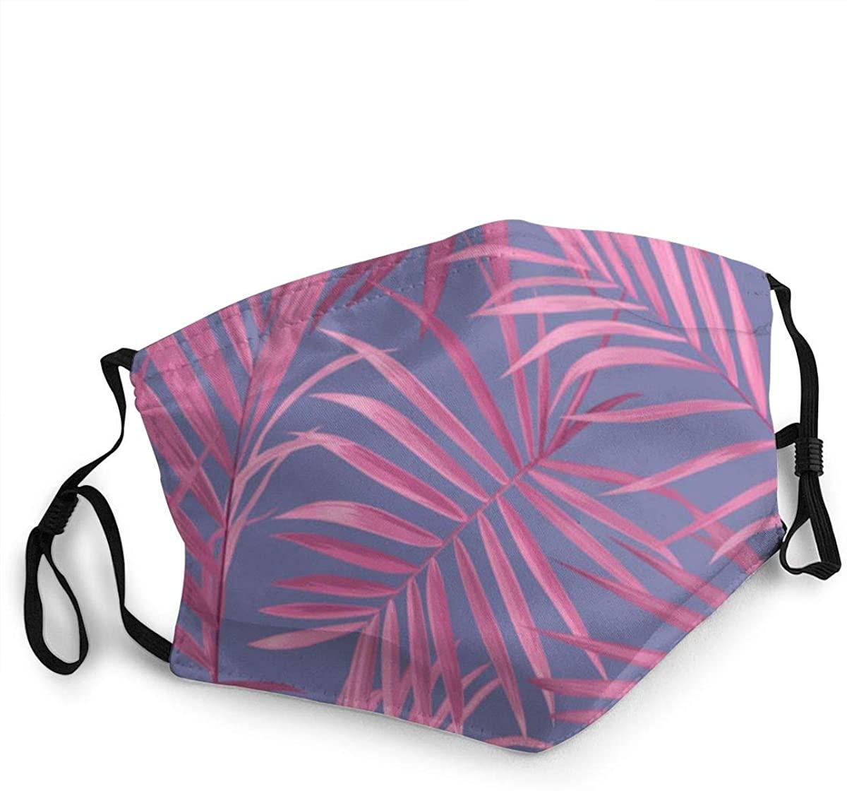 MARTHLORES Fashion Protective, Reusable Cotton Fabric Pink Palm Leaves On Purple Unisex Cotton, Washable,Adjustable, Reusable.