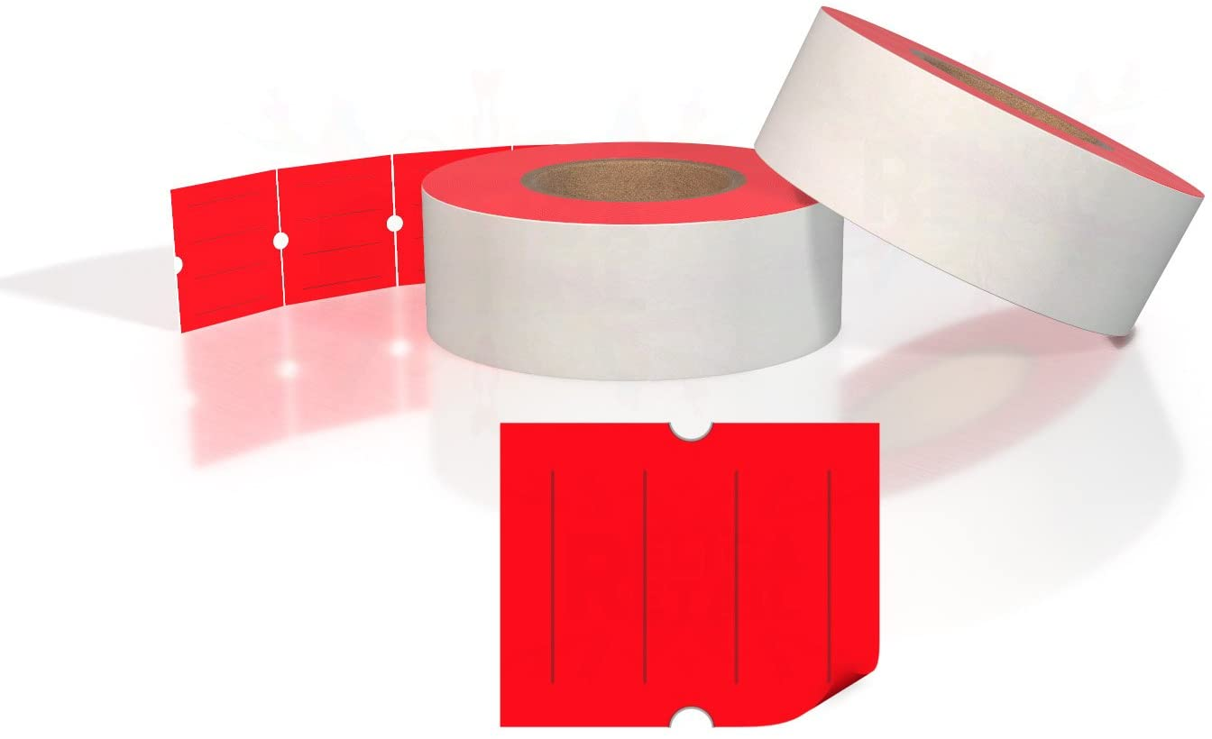 Fluorescent Red X-MARK and XLPRO Pricing Labels - Fits all TXM 21-86 and XLPRO II Price Guns - FULL Case of 30 Sleeves (180,000 Labels on 240 Rolls)
