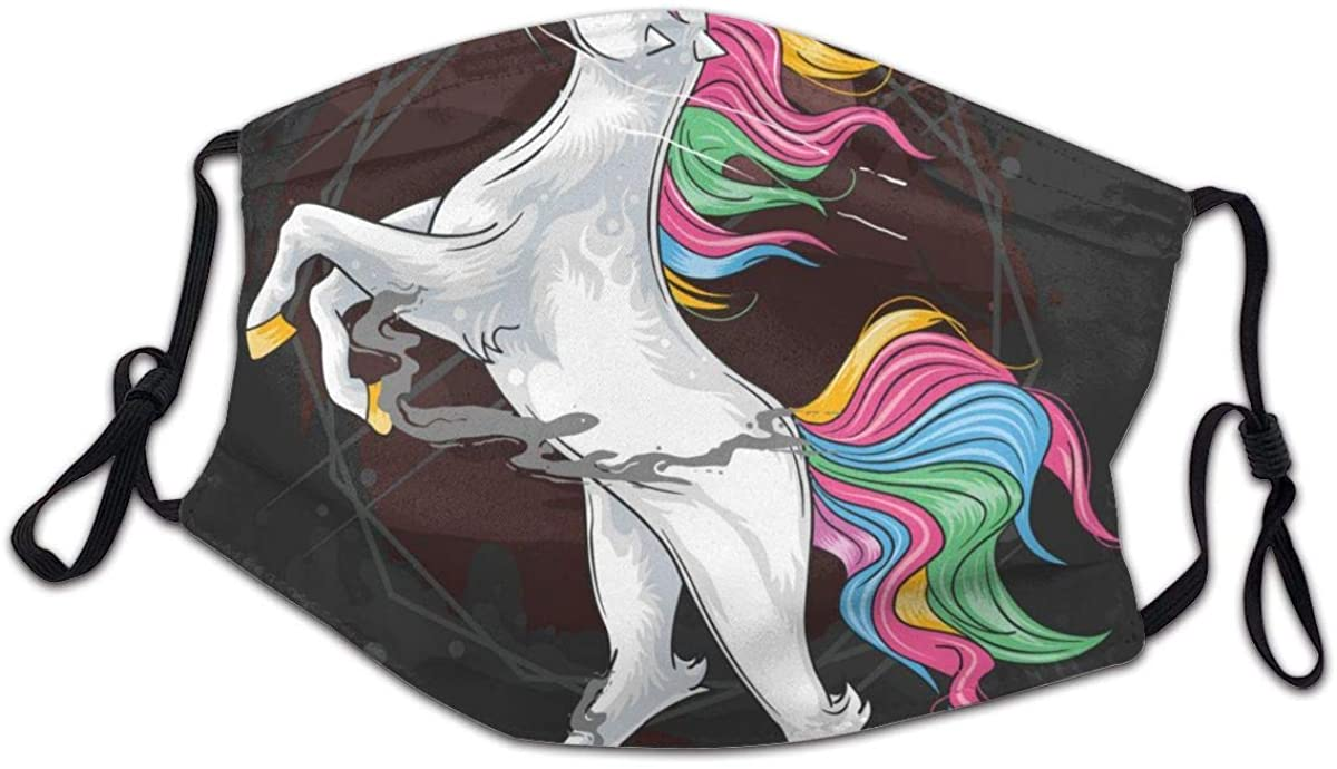 SLHFPX Marvellous Rainbow Unicorn Animal Horse Washable Reusable Kids Dust Cover Scarf Bandana for Boys Girls