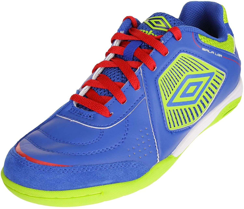 Umbro Men's Sala Liga Indoor Court Soccer Shoes, Tw Royal/Acid Lime/Vermillion/White