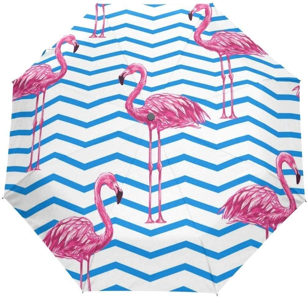 Automatic Umbrellas Geometrical Animal Flamingo Stripe Anti-Slip Windproof Compact Rain Umbrella for Women Men
