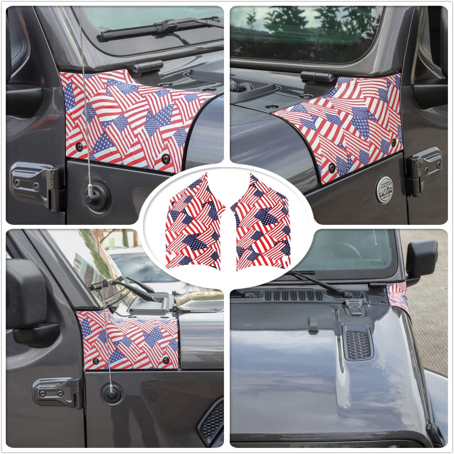 YOCTM Multicolour American Flag Side Cowl Body Armor Cover for 2018 2019 2020 Jeep Wrangler JL & Wrangler Unlimited Accessories 2/4 door - Pair
