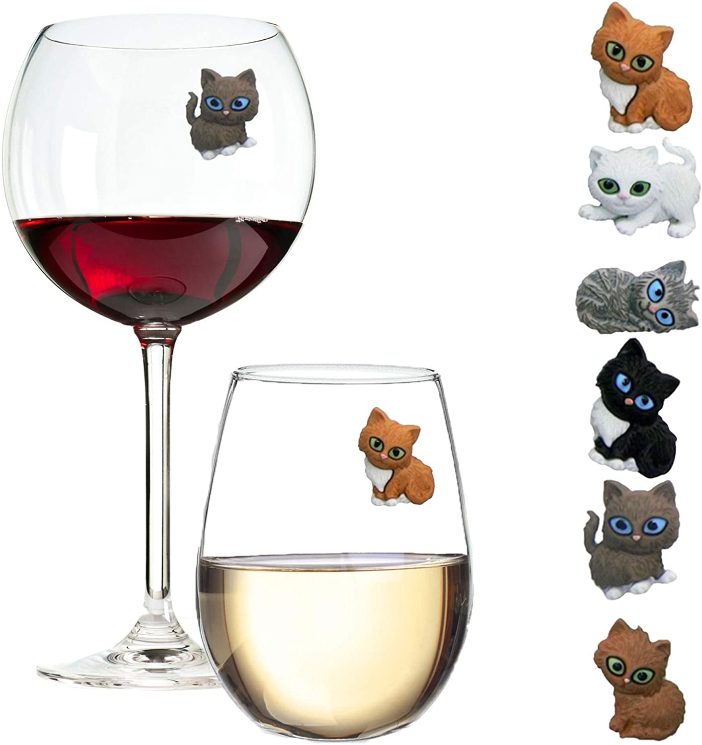 Simply Charmed Cat Wine Charms or Drink Glass Markers - Magnetic - Great Birthday or Hostess Gift for Cat Lovers - Set of 6 Cute Kitty Glass Identifiers