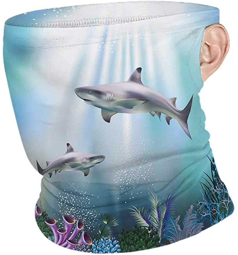 Neck Warmer Cooling Underwater Realistic Illustration Wild Sharks and Plants Corals Seaweed Aquatic Ocean Life,Neck Gaiter Tube Headwear Bandana Multicolor 10 x 12 Inch