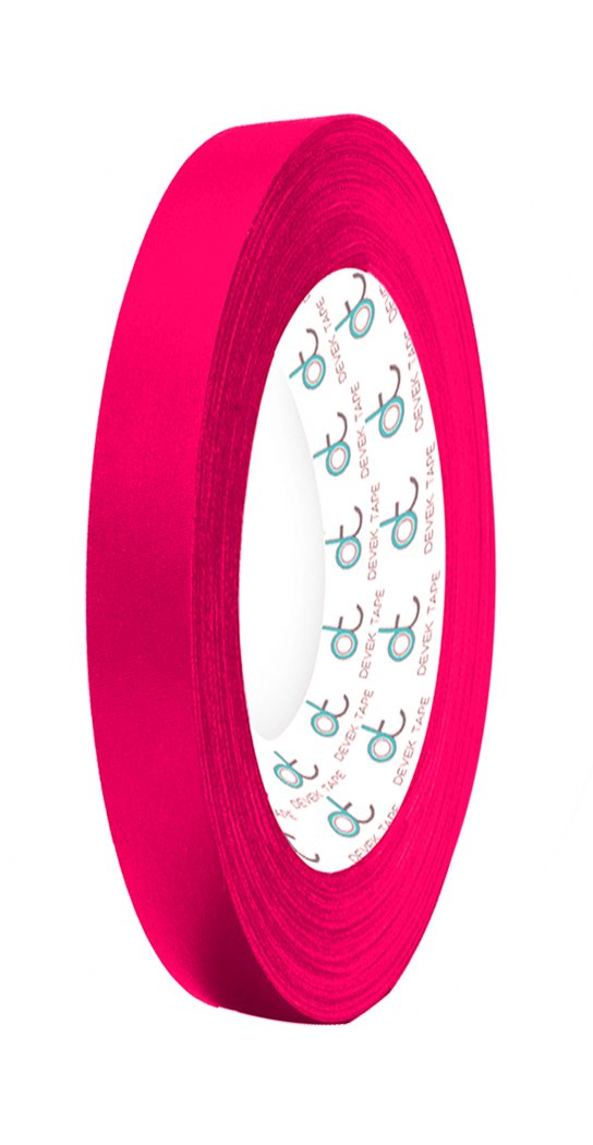 Devek Professional's Choice Premium Spike Tape Matte Cloth With Rubber Adhesive 12.5 Mil Thick 1/2 Inch x 25 Yards Neon Pink