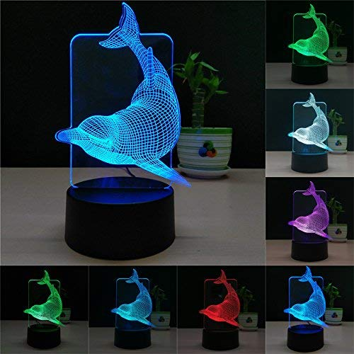 TTqp 3D LED Desk Table Dolphin Night Light Lamp 7 Color Touch Lamp Kiddie Kids Children Family Holiday Gift Home Office Childrenroom Theme Decoration Two Patterns: Dolphin + Christmas Tree