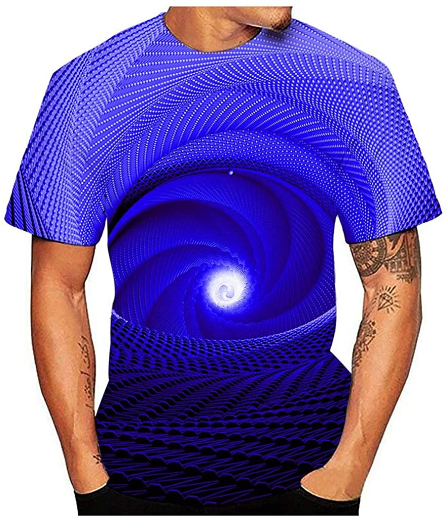 KESEELY Men's Party Casual Printed Round Neck Short Sleeve Top Blouse T-Shirt