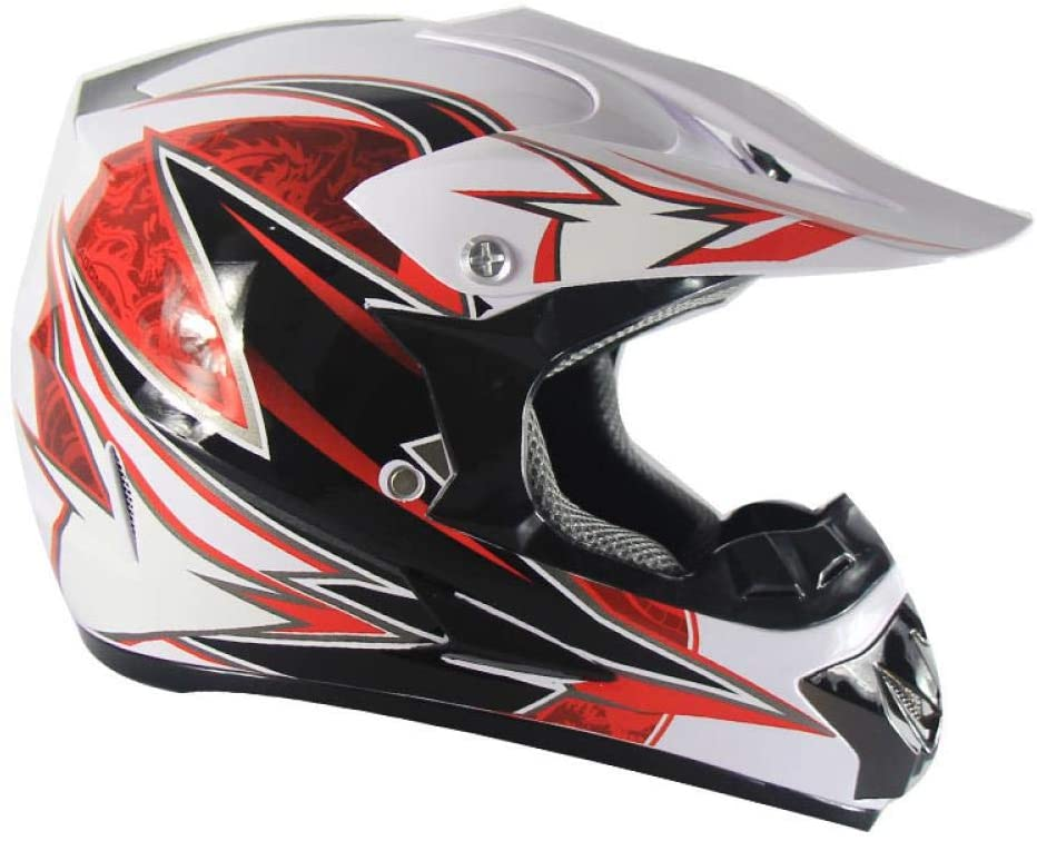Home bathroom products Motorcycle Helmet, Off-Road Helmet Road Racing Off-Road Helmet for Outdoor Cycling, White Red 10, M