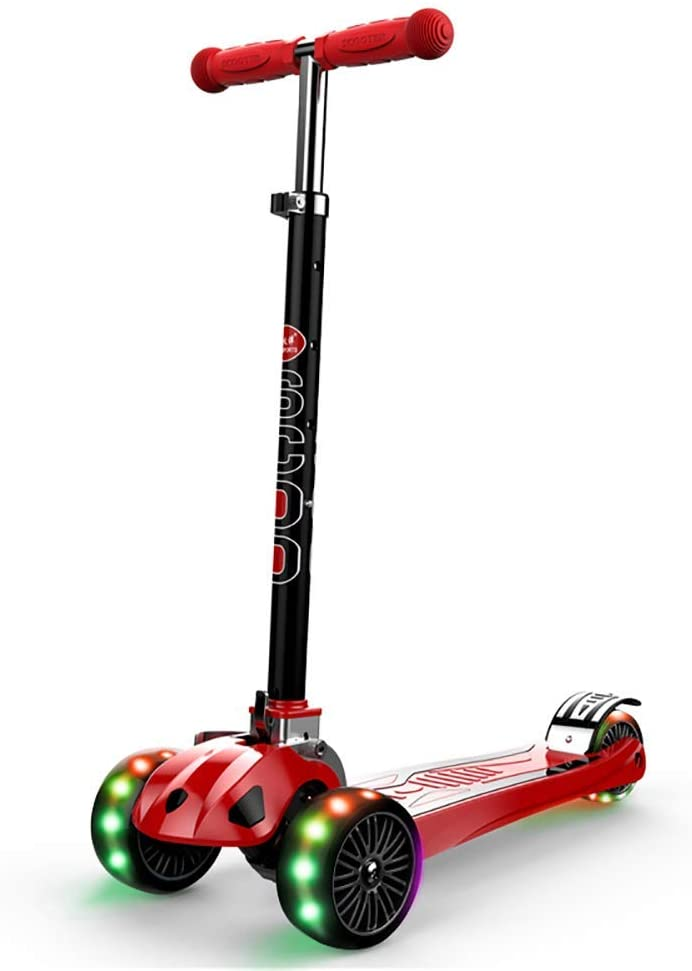 PLLP Outdoor Sports Scooter Kick,Foldable Kick for Girls, Adjustable Handlebar 3 Wheel Flashing for 3-18 Old Teen, Intelligent Turning, Red Adult Child Toy Balance Car Mini
