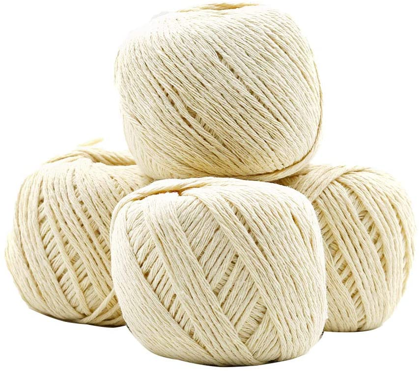 Treely 4 Pcs 328 Feet Twine, 100% Natural Cotton Food Bakers Twine String for Crafts Gift Wrapping Tying Homemade Meat Decoration Bundling Packing, Creamy White