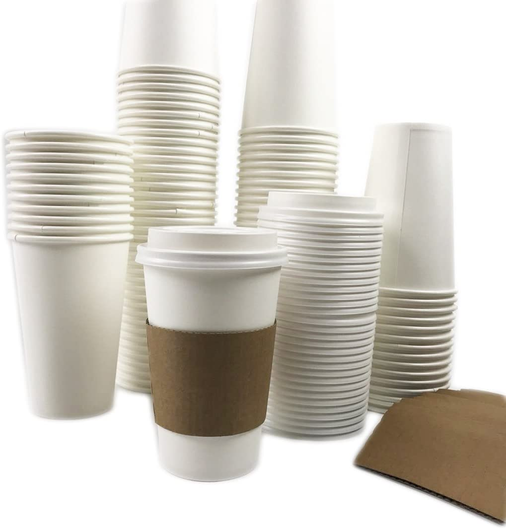 Black Cat Avenue 50 Sets 16oz Disposable Hot White Paper Cups with Lids and Sleeves For Hot Drinks Coffee Cocoa Chocolate Latte Cappuccino