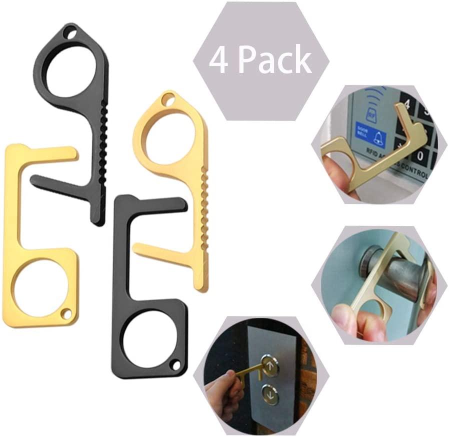 4PCS Door Opener Tool Touchless Keychain No Touch Door Opener Tool Button Pusher Tools for Outdoor