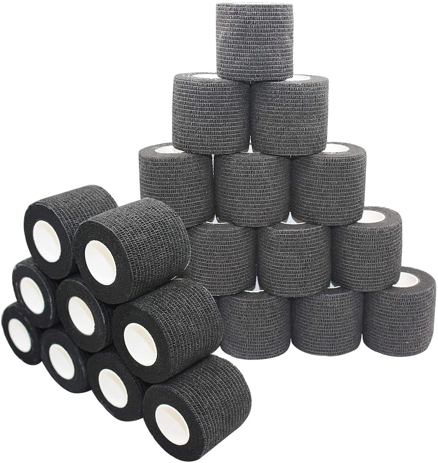 COMOmed Self Adherent Cohesive Bandage 2x5 Yards First Aid Bandages Stretch Sport Athletic Wrap Vet Tape for Wrist Ankle Sprain and Swelling,Black(24 Rolls)