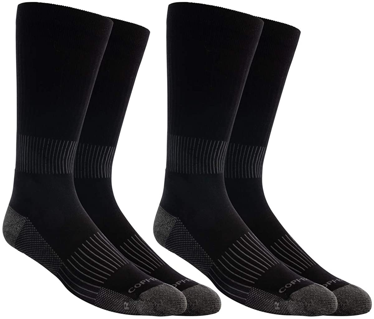 Copper Fit Men's Compression Sports Crew Socks 2 Pairs Per Pack