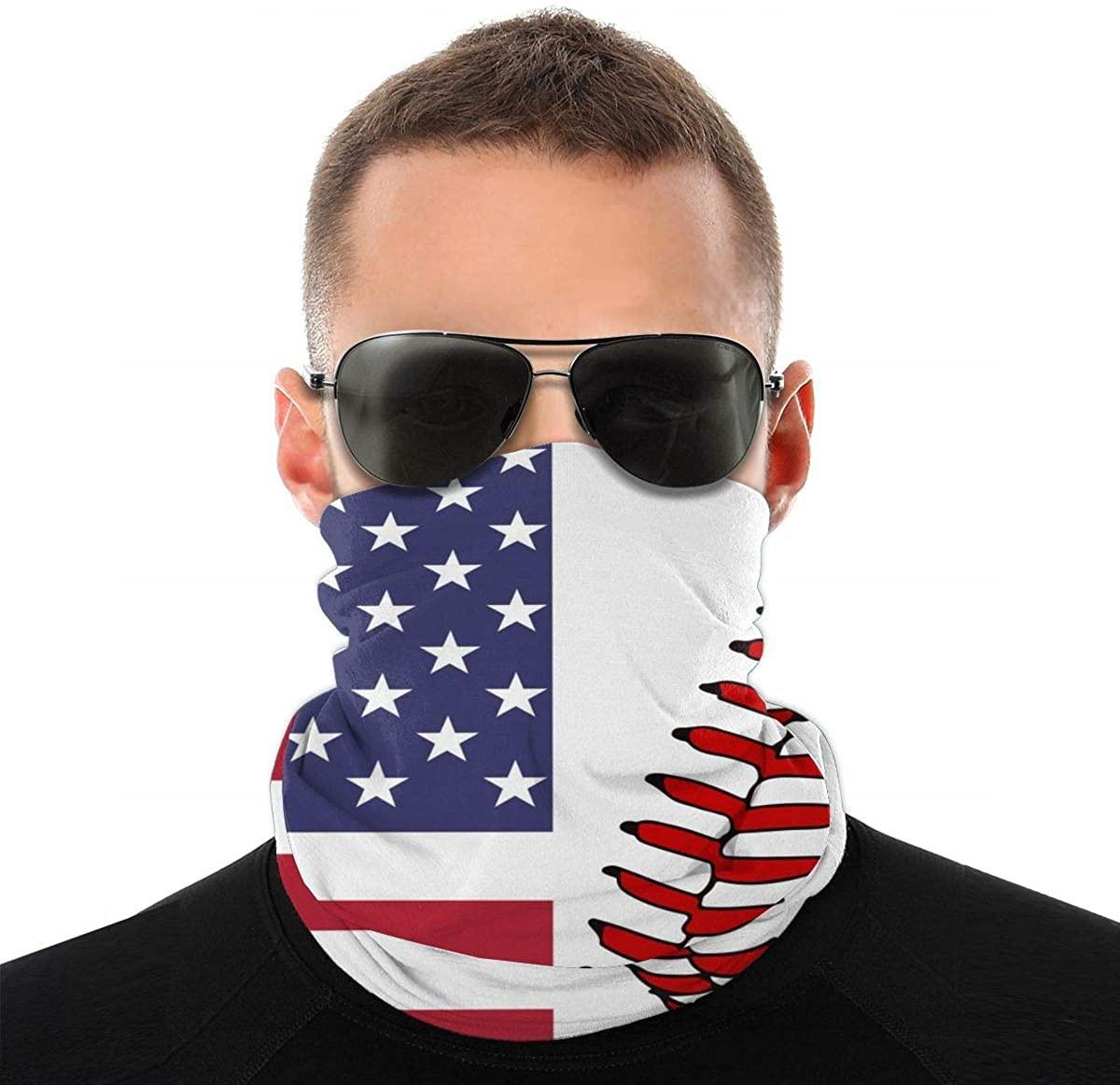 USA Flag Baseball Lace Seamless Face Mask Bandana Neck Gaiter for Dust UV Scarf Balaclava Headband
