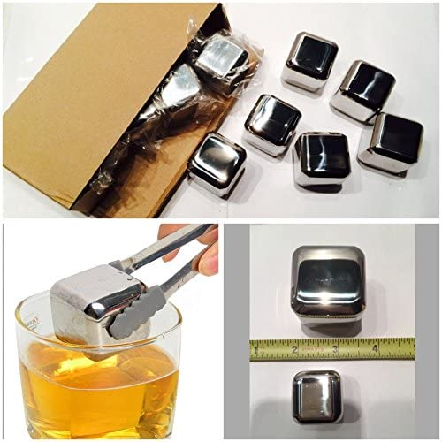 C-Spin 10 Pieces 40mm x 40mm Giant Stainless Steel Whisky Stone Large Ice Cube Cubes Glacier Rocks Chillers Cooler Jumbo Whiskey Stones Box