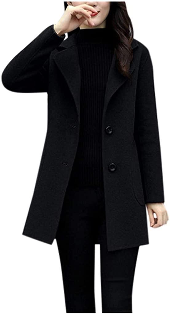 Womens Work Solid Vintage Winter Office Long Sleeve Button Woolen Jacket Coat