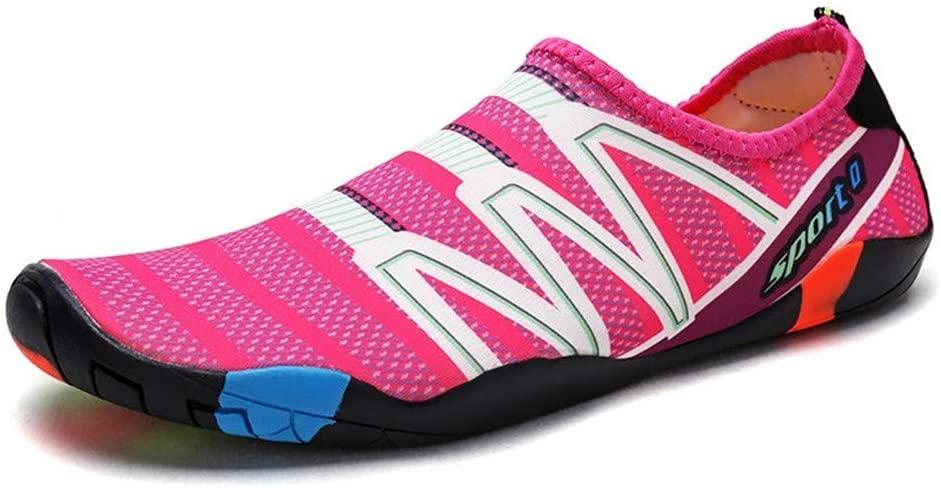 NISHIPANGZI Beach Water Shoes,Mens Womens White Stripes Water Shoes Barefoot Beach Pool Shoes Quick-Dry Aqua Yoga Socks for Surf Swim Water Sport,43,44(3pcs)