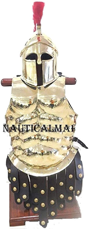 Brass Greek Cuirass with Greek Corinthian Helmet Apron Belt Red Plume Gold