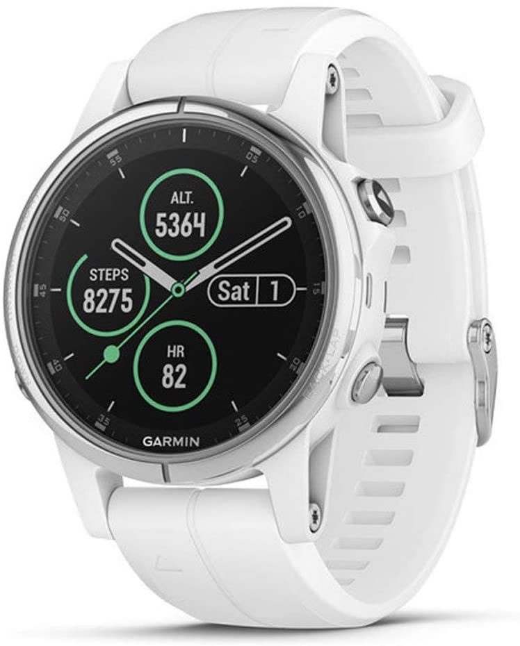 Garmin Fenix 5s Plus, Smaller-Sized Multisport GPS Smartwatch, Features Color TOPO Maps, Heart Rate Monitoring, Music and Garmin Pay, White/Silver (Renewed)