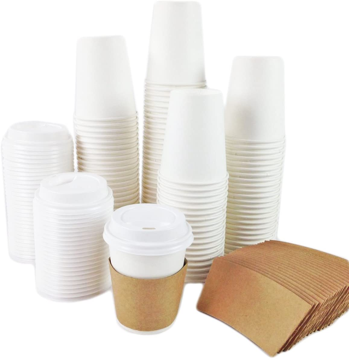 Black Cat Avenue 50 Sets 8oz Disposable Hot White Paper Cups with Lids and Sleeves For Hot Drinks Coffee Cocoa Chocolate Latte Cappuccino