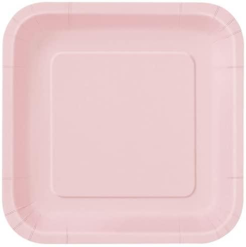 Pink 16 x Pale/Pastel Square Paper Plates (7