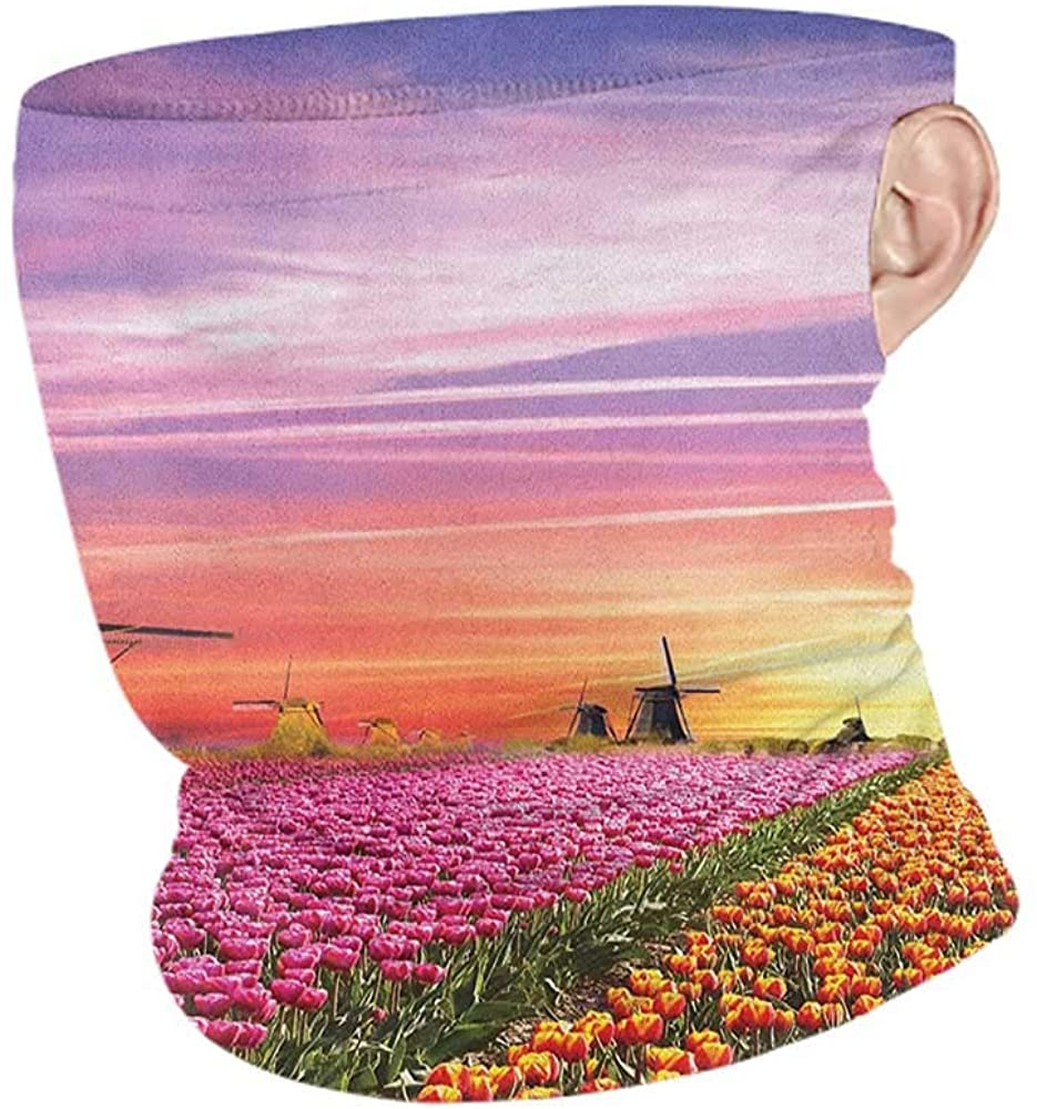 Face Cover Summer Nature Tulip Fields and Windmills in European Landscape with a Sunset Sky View,Headband Neck Gaiter Orange Pink Purple 10 x 12 Inch