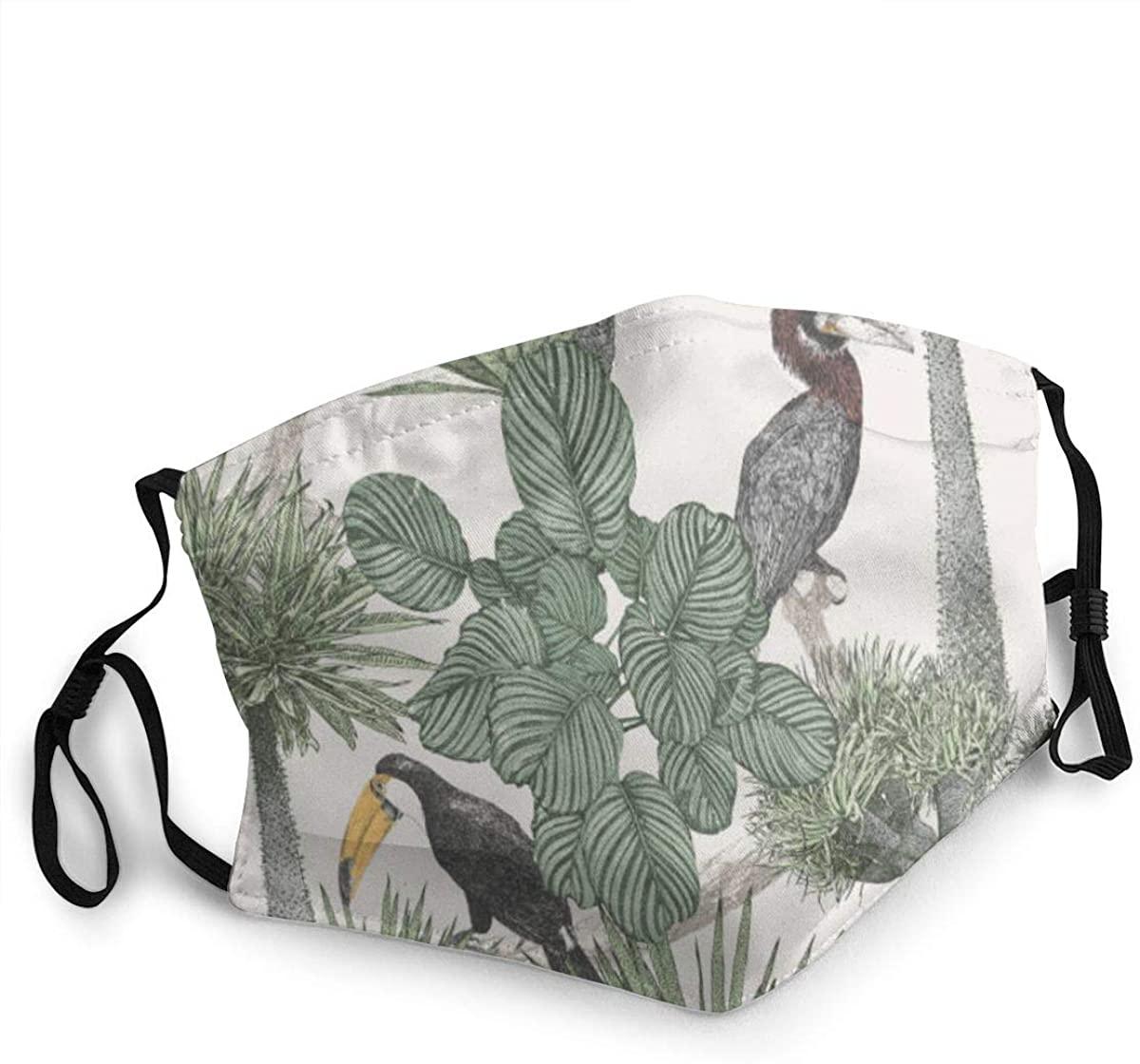 Fashion Protective Face Masks, Tropical Birds Palm Trees Unisex Dust Mouth Masks, Washable, Reusable Masks