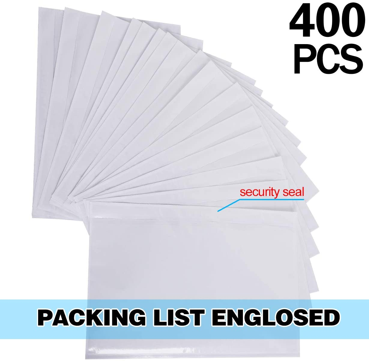 KEILEOHO 400 PCS 6 x 9 Inch Packing List Envelopes, Clear Adhesive Mailing Labels Top Loading Shipping Label Package Instruction Bag Waterproof and self-Adhesive