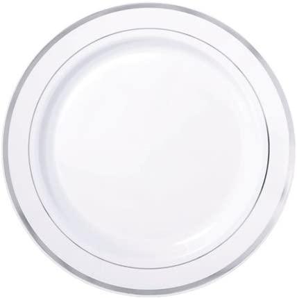 White with Silver Trim Premium Quality Plastic 7in Plates 24ct