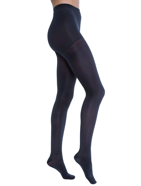 JOBST Opaque Waist High 15-20 mmHg Compression Stockings Pantyhose, Closed Toe, Medium, Midnight Navy
