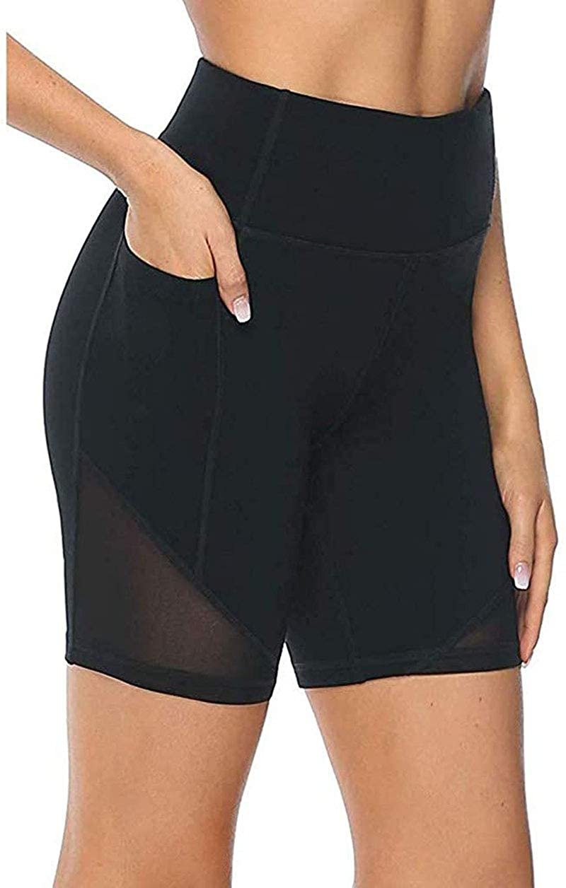 Bowiln Women's High Waist Stretch Athletic Workout Shorts with Pocket,Skinny Quick Dry Non See-Through Short Yoga Pants