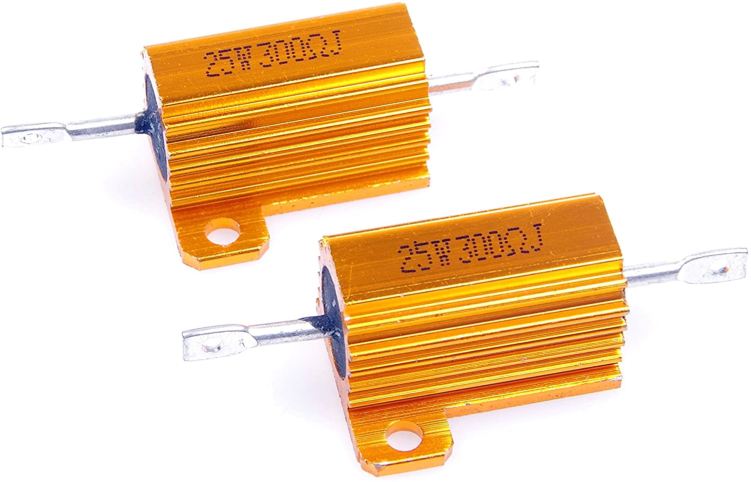LM YN 25 Watt 300 Ohm 5% Wirewound Resistor Electronic Aluminium Shell Resistor Gold for Inverter LED Lights Frequency Divider Servo Industry Industrial Control 2-Pcs