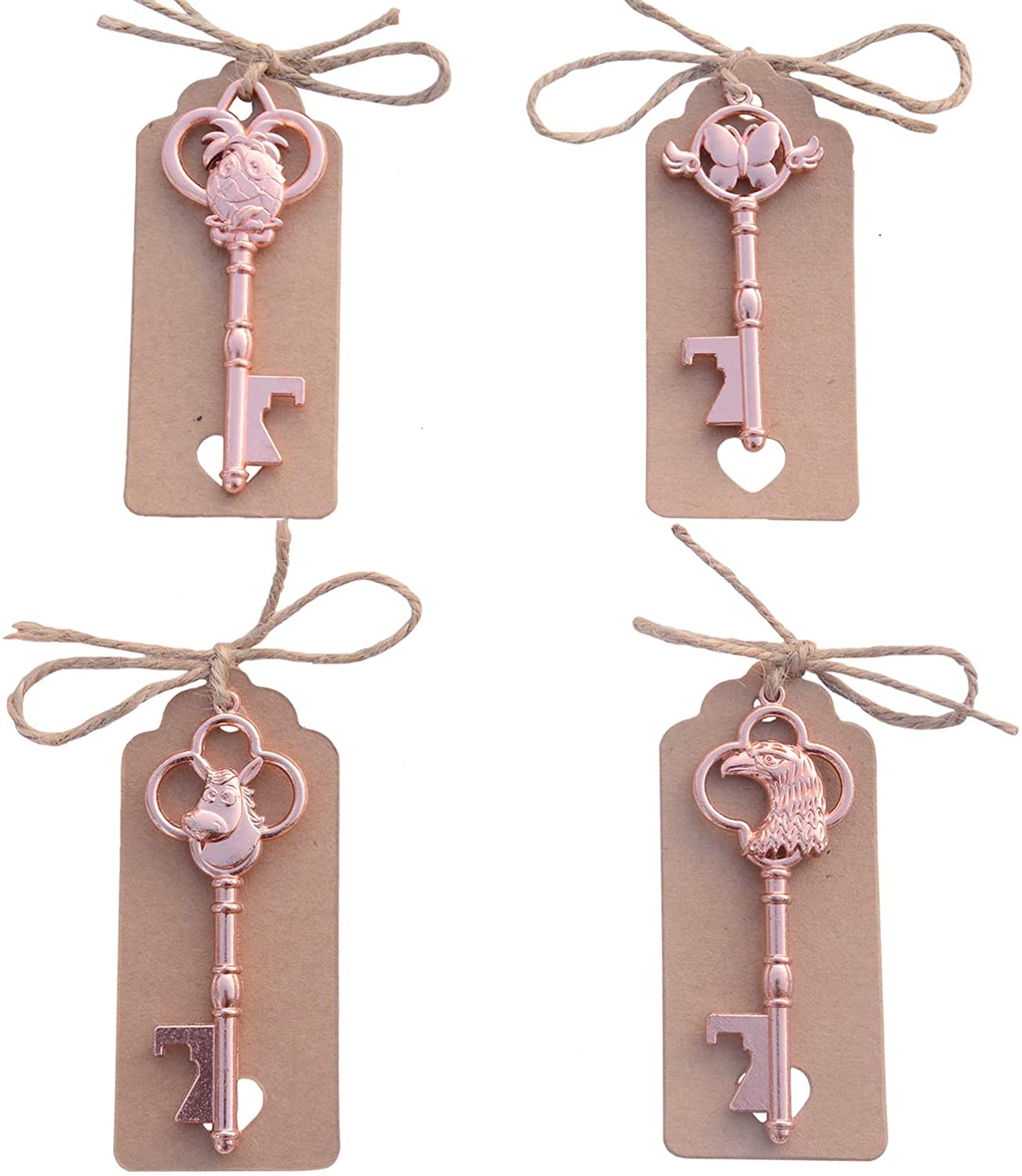Yansanido Pack of 40 Mixed 4 Styles Rose Gold Skeleton Key Bottle Opener with Escort Tag Card and Twine for Wedding Favors for Guests Party Favors (mixed 4 styles Rose Gold)