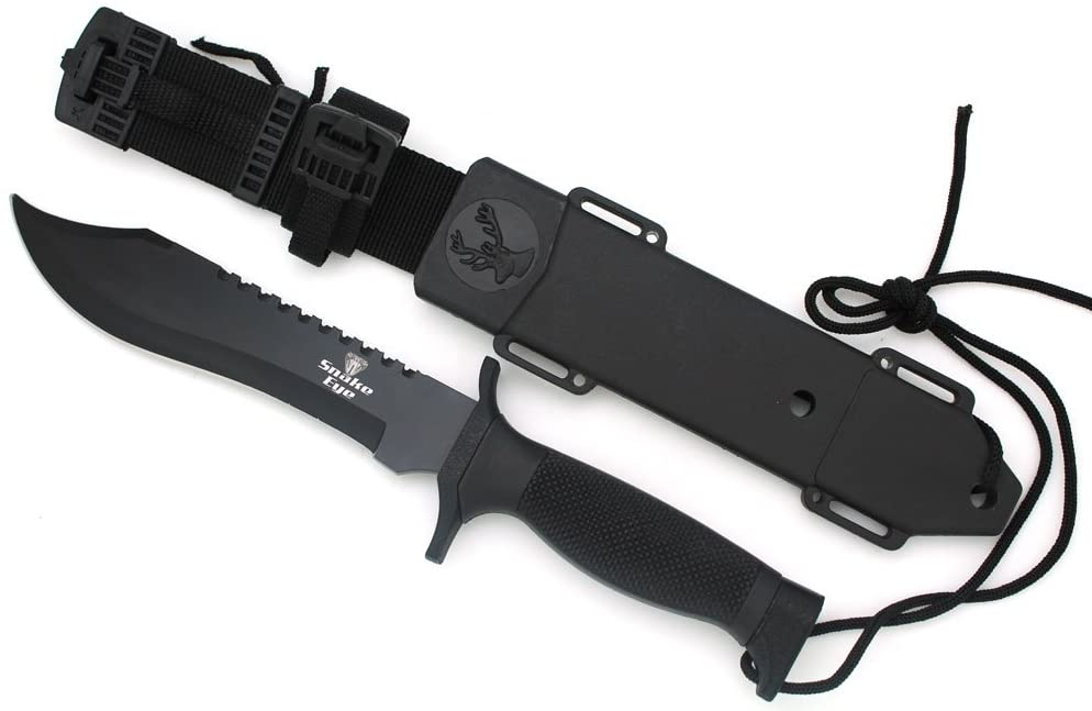 Snake Eye Tactical Black Fixed Blade Survival Bowie Hunting w/Sheath Hunting Camping Fishing