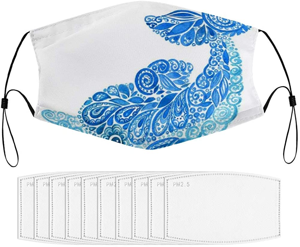 Roupaze Children Face Masks Ornamental Dolphin Figure with Swirly Ethnic Flower Paisley Watercolors Windproof Face Mouth Cover Balaclavas for Kids with 10 Filter
