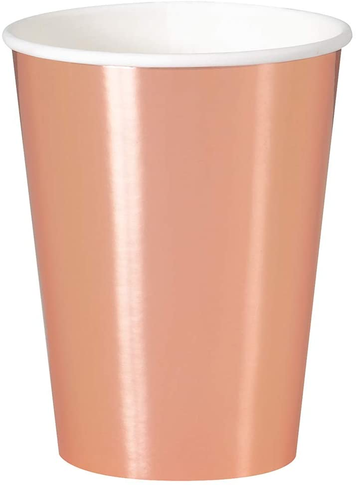 Rose Gold Foil Paper Party Cups- Foil Board, 8 Ct.
