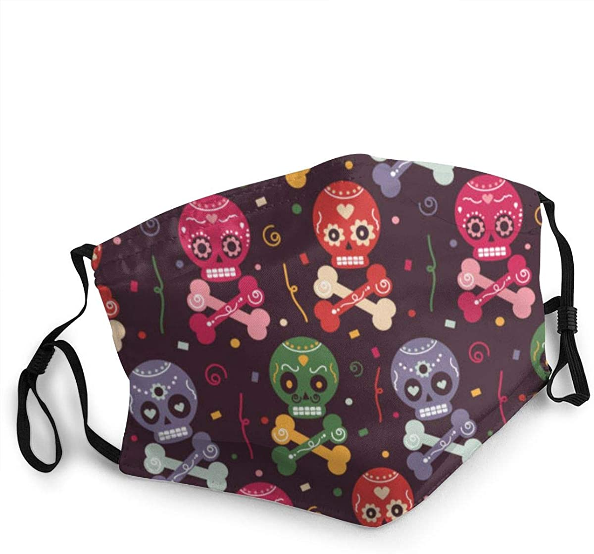Fashion Washable Reusable Mouth Mask Cute Colorful Mexican Skull Adjustable Protective Face Cover with Dust Filter Pocket