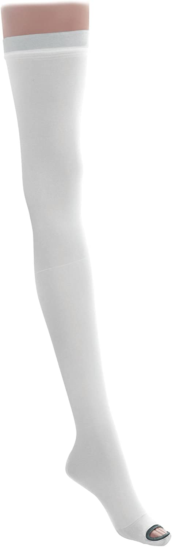Medline MDS160864 EMS Latex Free Thigh Length Anti-Embolism Stocking, Large Regular, White (Pack of 6)