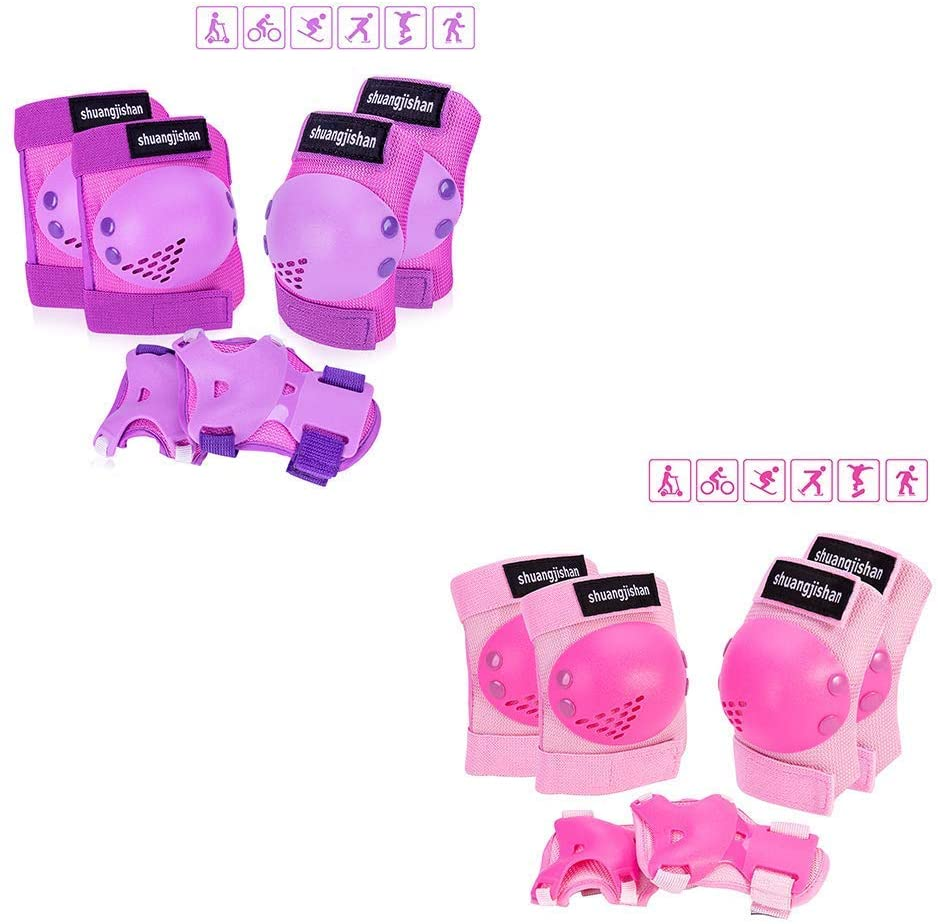 JUANANIUG Knee Pads for Kids/Youth, 6-in-1 Sports Knee Elbow Wrist Pads Guards(Purple M + Pink M)