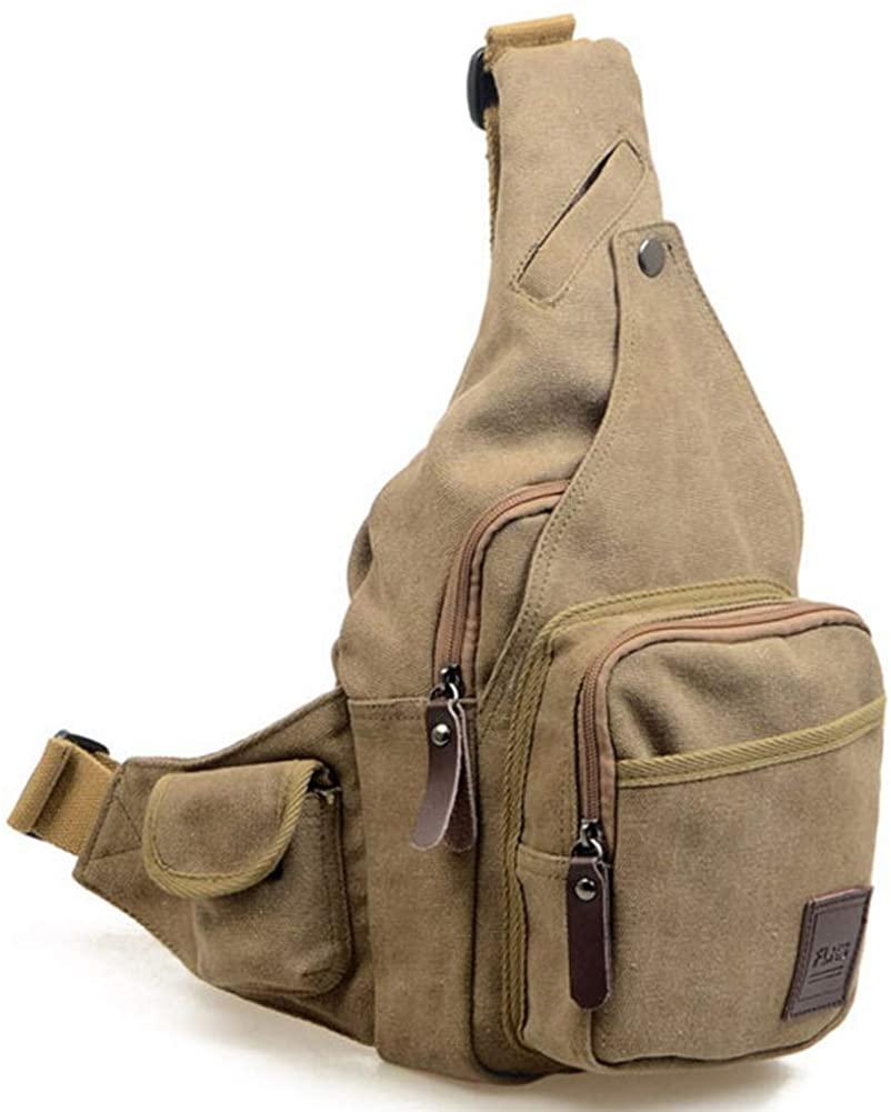 Canvas Sling Bag, Chest Bag Crossbody Small Sling Backpack Shoulder Casual Daypack for Men Women