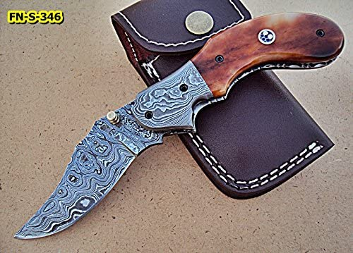 FN-S-346, Handmade Damascus Steel Folding Knife – Beautiful Colored Bone Handle with Damascus Steel Bolster