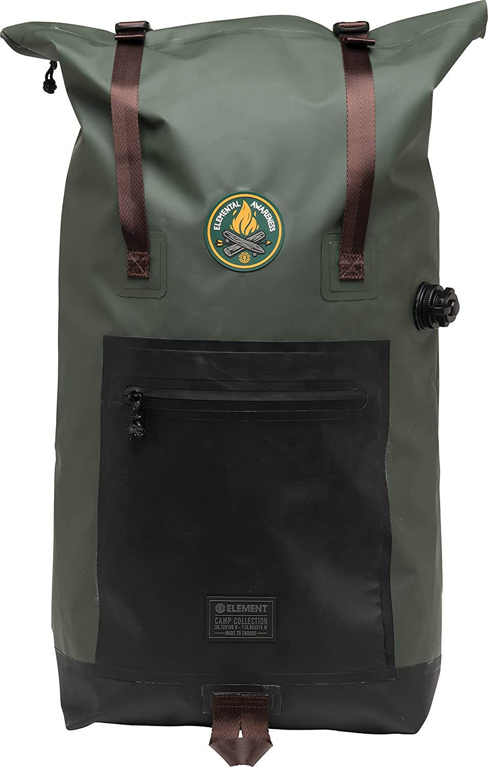 Element Unisex-Adult's Awareness Waterproof Roll Top Backpack, olive drab, One Size